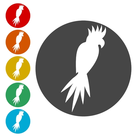 Vector cockatoo silhouette icons set