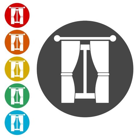 Vector curtain icons set - Illustration Illustration