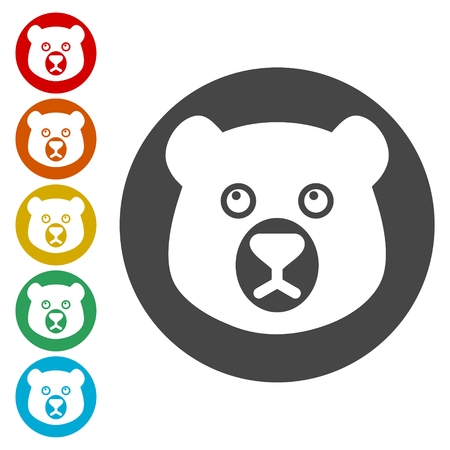 Bear head icons set - vector Illustration