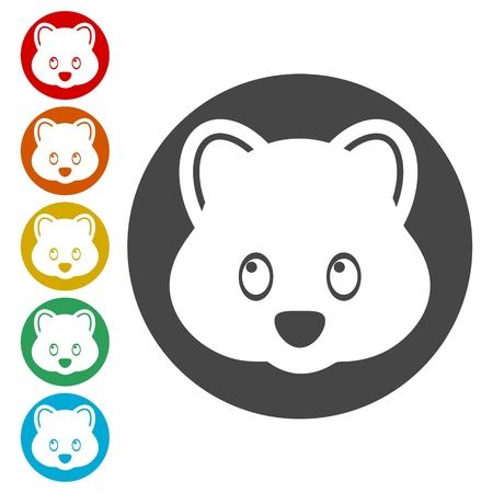 Bear head icons set - vector Illustration Imagens - 107726576