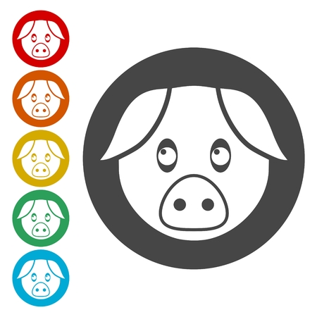 Pig icons set - Illustration
