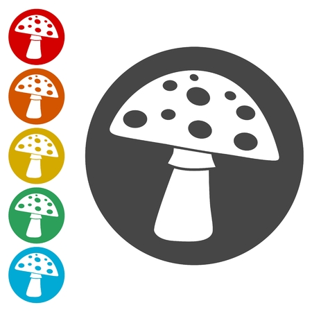 Mushroom Icons set Flat Graphic Design - Illustration Çizim
