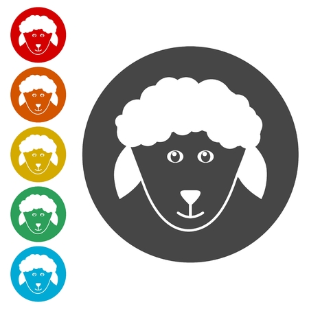 Sheep icons set. Farm animal vector illustration