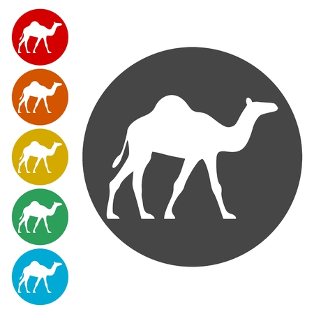 Camel silhouette vector icons set - Illustration