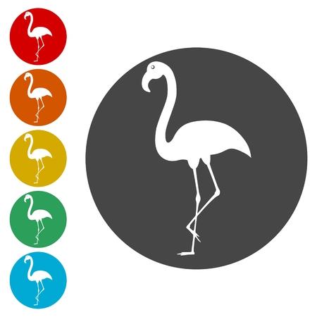 Flamingo icons set - Illustration