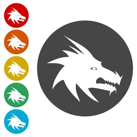 Dragon mascot icons set - Illustration