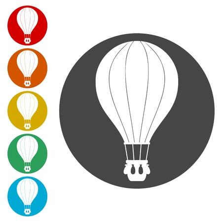 Hot Air Balloon icons set - Illustration Vektorgrafik