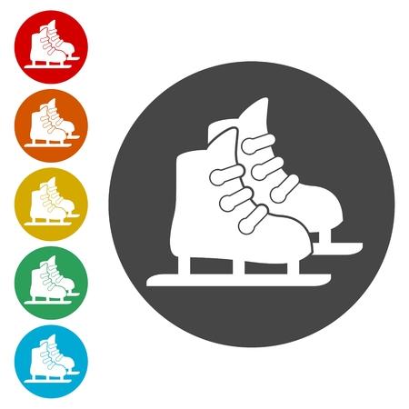 Skate web icons set - Illustration