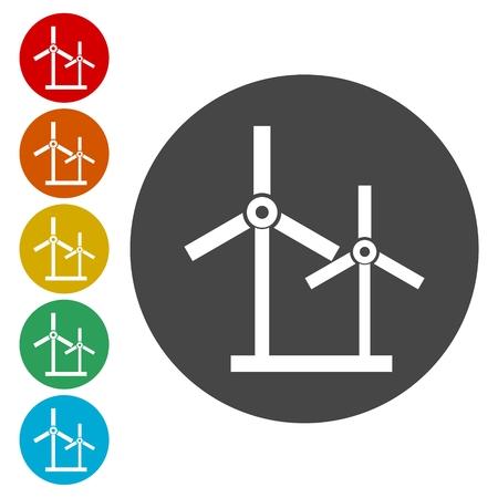 Icons set of winds turbine - Illustration