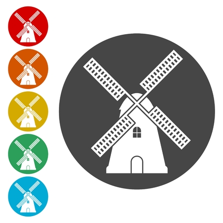 Traditional old windmill building icons set 向量圖像