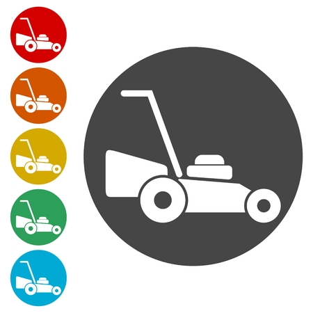 Lawn mower icons set vector illustration