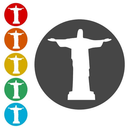 Jesus Christ Monument In Brazil icons set - Illustration Illustration