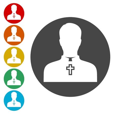 Priest Icons set Flat Graphic Design - Illustration Ilustração