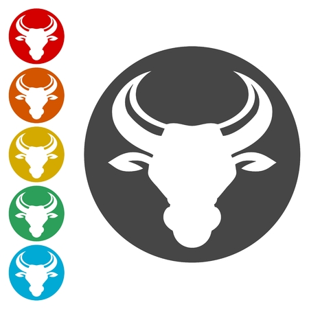 Bull icons set vector illustration