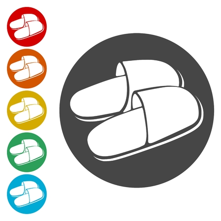 Slipper icons set - Illustration
