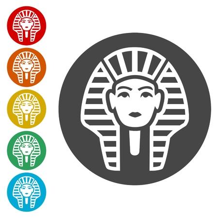 Pharaoh Tutankhamen mask icons set - Illustration