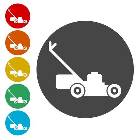 Lawn mower icons set vector illustration
