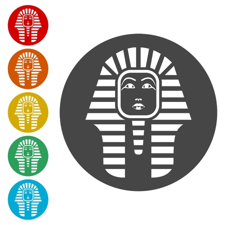 Pharaoh Tutankhamen mask icons set - Illustration