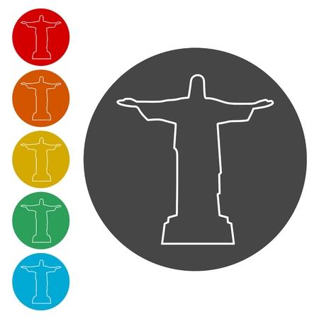 Jesus Christ Monument In Brazil icons set - Illustration 일러스트