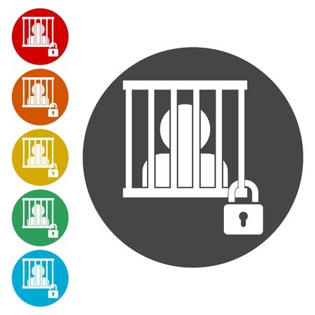 Icono encarcelado, conjunto de iconos detrás de las rejas - Ilustración Ilustración de vector