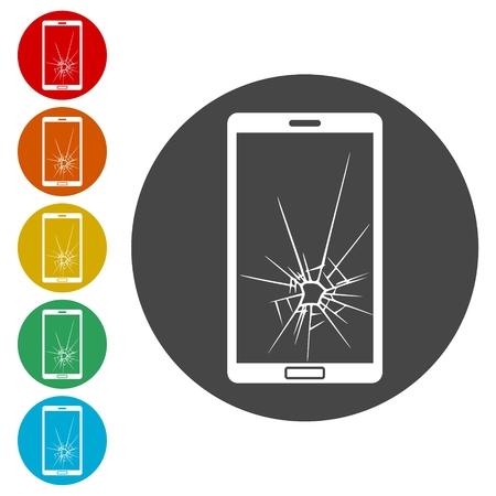 Gebroken slimme telefoon iconen set - illustratie