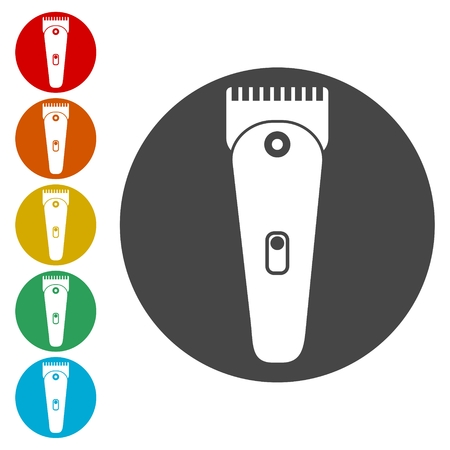 Hair clipper icons set - Illustration
