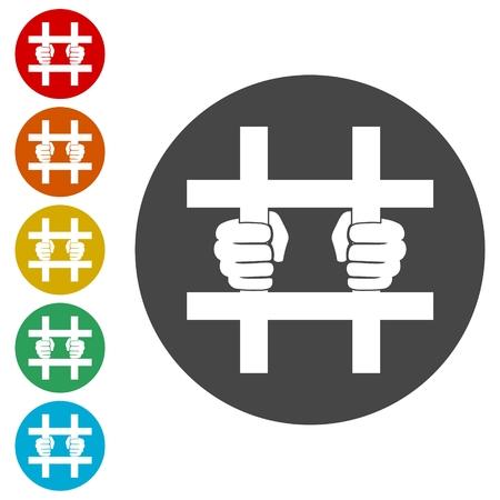 Icône emprisonnée, ensemble d'icônes derrière les barres - Illustration Vecteurs
