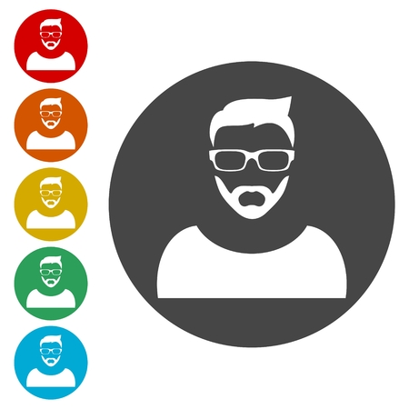 Man hipster style icons set - Illustration