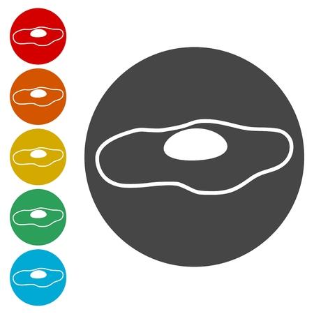 Fried egg, flat icons set - Illustration