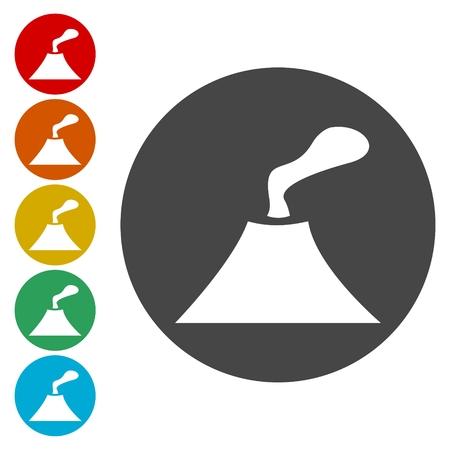 Volcano eruption icons set