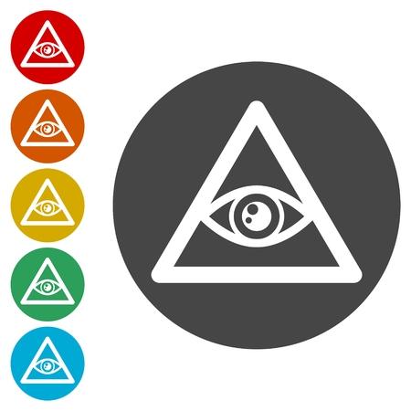 Third eye icons set - Illustration