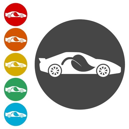 Eco Car icons set- Illustration