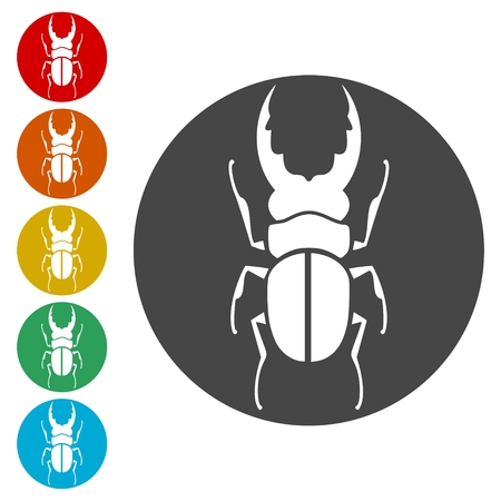 Insect icons set silhouette - Illustration