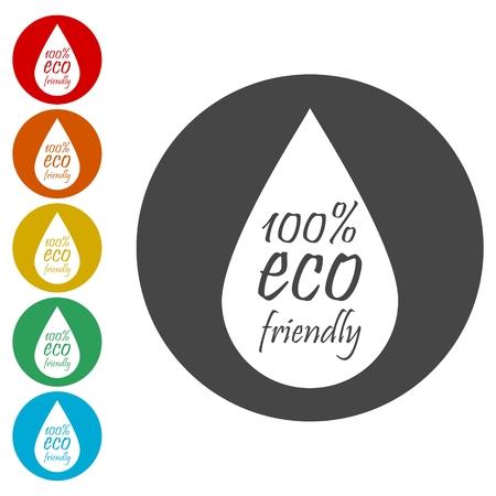 Eco Drop icons set 矢量图像