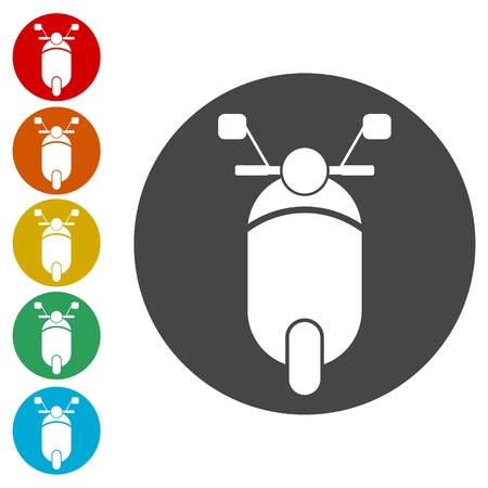 Sport bike icons set illustration