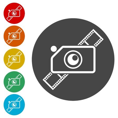 Camera photographic icons set - Illustration