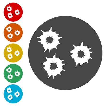 Bullet holes, Vector icons set