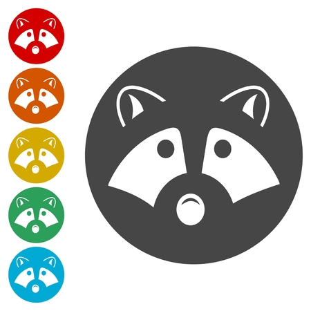 Silhouette of a raccoon icons set - Illustration