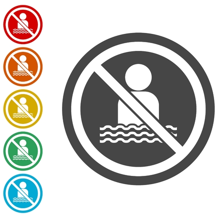 No swimming sign - Illustration