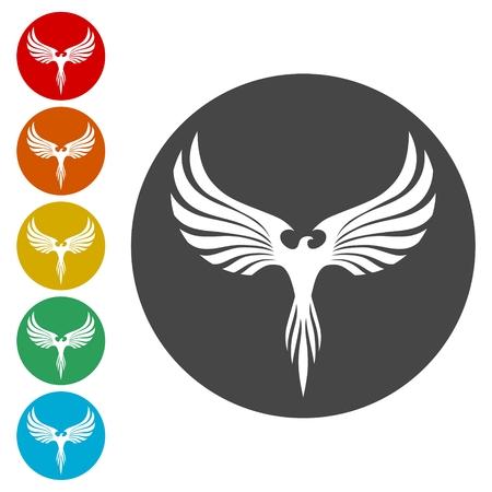 mythological bird design icons set - Illustration Illustration
