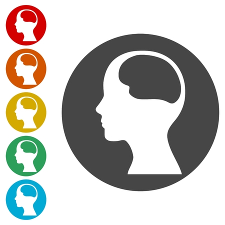 Human head silhouette and structure of the brain icons set
