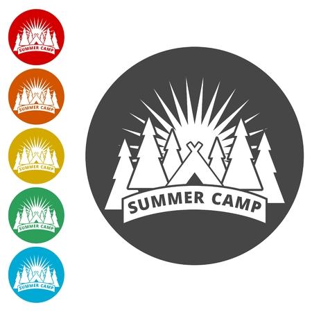 Summer camp icons set - Illustration