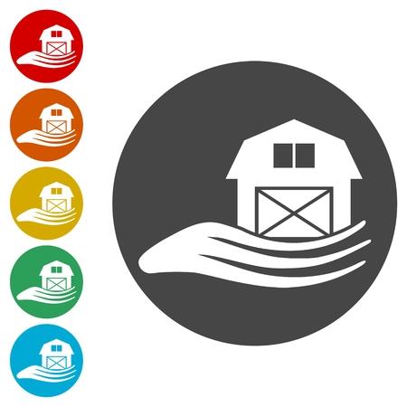 Barn & farm building icons set  イラスト・ベクター素材