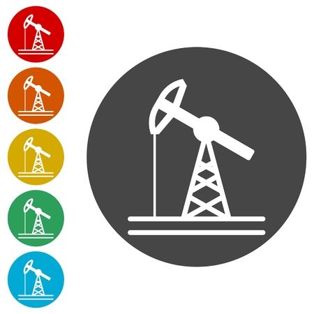 Oil pump icons set
