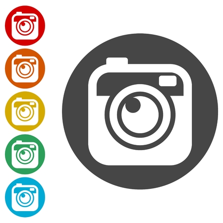 Hipster photo Camera icons set Vectores