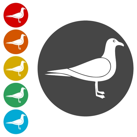 Seagull icons set - vector illustration Ilustrace