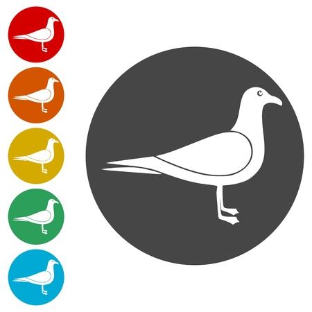 Seagull icons set - vector illustration Illustration