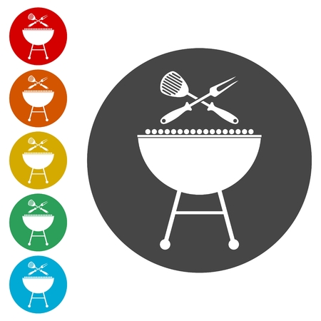 BBQ vector icons set, Grilling Utensils Icon Flat Graphic Design