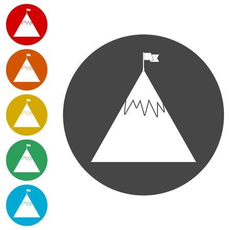 Bandera en un conjunto de iconos de pico de montaña