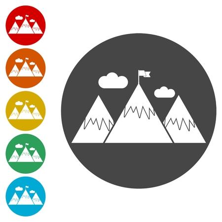 Flag on a Mountain peak icons set